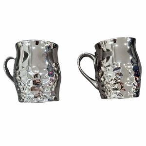 New! Bella Lux Set of 2 Shiny Silver Ceramic Mugs